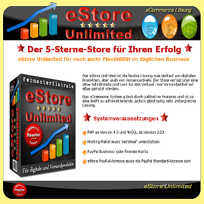 eSTORE UNLIMITED - 5 Sterne TOP-SHOP - inklusive Master Reseller Lizenz